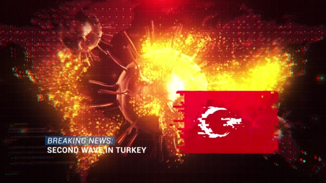 loop ready breaking news second wave in turkey title with flag against coronavirus covid-19 and map background - breaking news stock videos & royalty-free footage