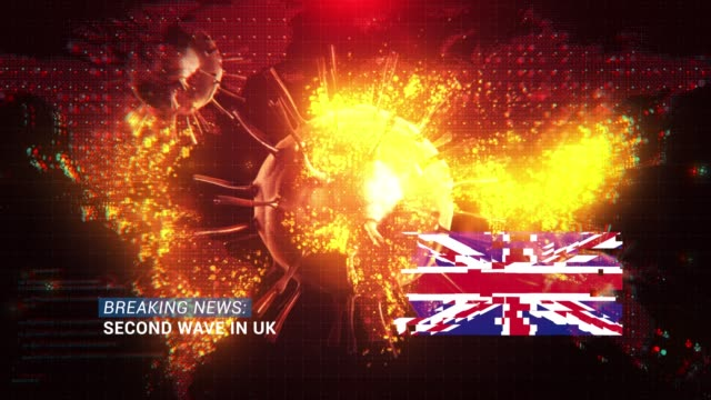loop ready breaking news second wave in uk title with flag against coronavirus covid-19 and map background - breaking news stock videos & royalty-free footage