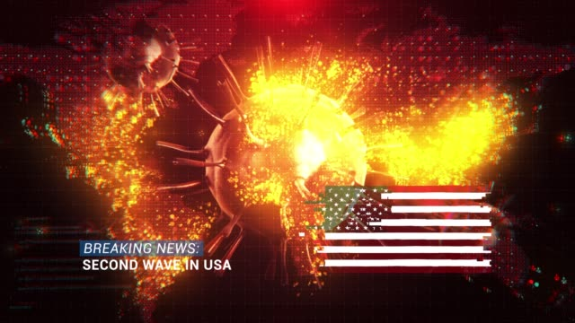 loop ready breaking news second wave in usa title with flag against coronavirus covid-19 and map background - breaking news stock videos & royalty-free footage