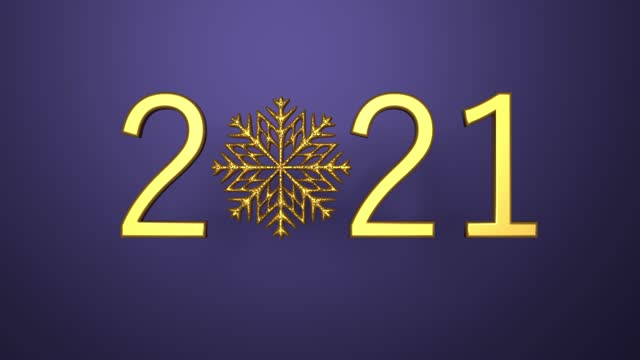 loop ready christmas new year greeting card with 2021 text and snowflake on purple background - new year card stock videos & royalty-free footage