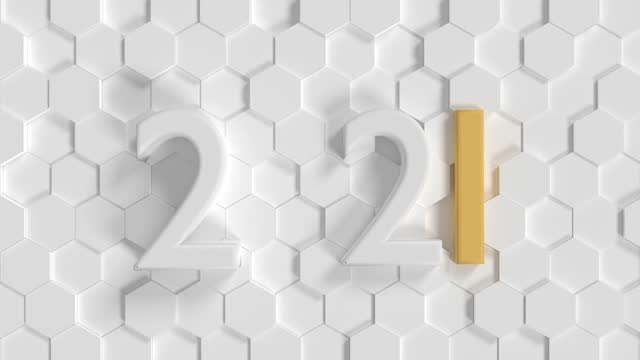 vidéos et rushes de boucle prête carte de salutation du nouvel an de noël avec le texte 2021 sur le fond abstrait blanc - carte de noël