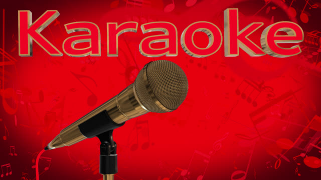 Loop ready close up of a rotating gold coloured cardioid dynamic ball head microphone on a red background with musical notes and the word karaoke in gold coloured 3D letters with a red inlay