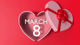 Loop Ready March 8 International Women's Day is Coming Out of a Heart Shape White Gift Box Tied with Red Ribbon on Red Loop Ready File in 4K Resolution