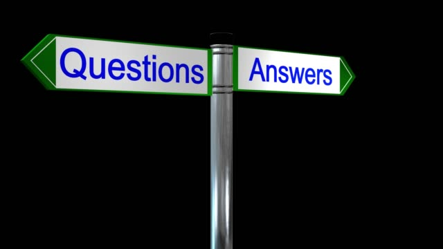 Loop ready rotating sign post with the words questions and answers