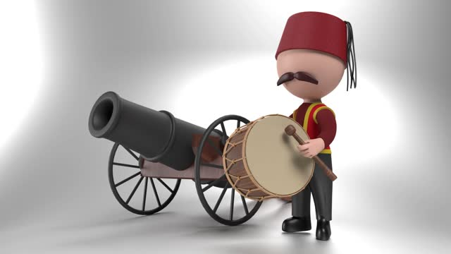 loop ready traditional ramadan drum and drummer iin front of a cannon against white in 4k resolution - artillery stock videos & royalty-free footage