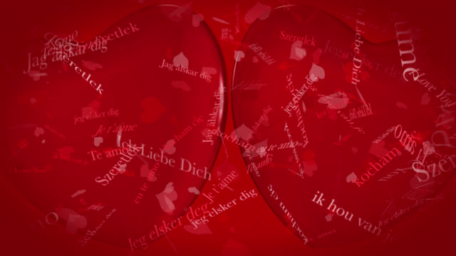 Loop ready Valentine's Day themed clip of the phrase I Love You in various European languages with moving heart shaped particles and two 3D red hearts on a red background.