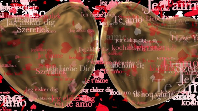 Loop ready Valentine's Day themed clip of the phrase I Love You in various European languages with moving heart shaped particles and two 3D gold hearts saved with alpha channel.