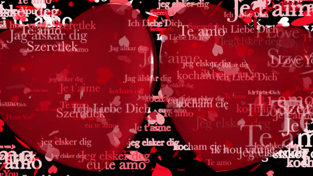Loop ready Valentine's Day themed clip of the phrase I Love You in various European languages with moving heart shaped particles and two 3D red hearts saved with alpha channel.