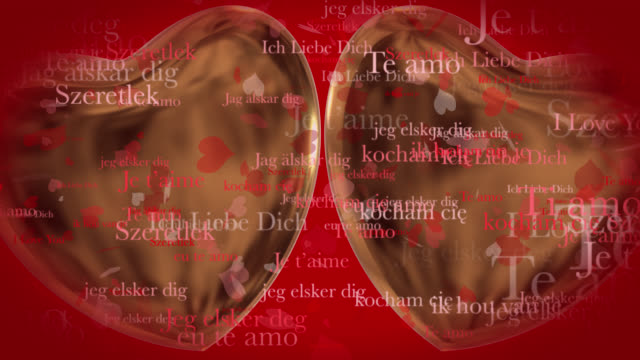 Loop ready Valentine's Day themed clip of the phrase I Love You in various European languages with moving heart shaped particles and two 3D gold hearts on a red background.