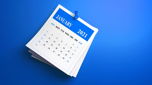 loop swinging abstract january 2021 year calendar on blue background - month stock videos & royalty-free footage