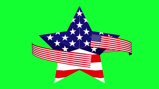 loop turning star with usa flag on green background - top hat stock videos & royalty-free footage