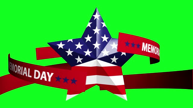 loop turning star with usa flag.memorial day concept on green background - top hat stock videos & royalty-free footage