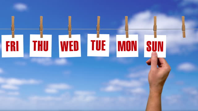 loopable 7 day countdown of each weekday with blue sky in the background - weekday stock videos & royalty-free footage