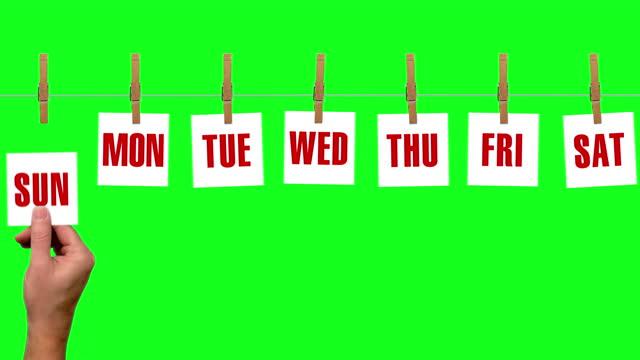 vídeos y material grabado en eventos de stock de loopable cuenta atrás de 7 días de cada día de la semana con el cielo azul en el fondo - viernes