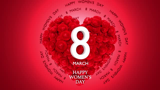 loopable 8 march happy women's day text and heart shape made from red flowers to celebrate 8 march international women's day in 4k resolution - number 8 stock videos & royalty-free footage