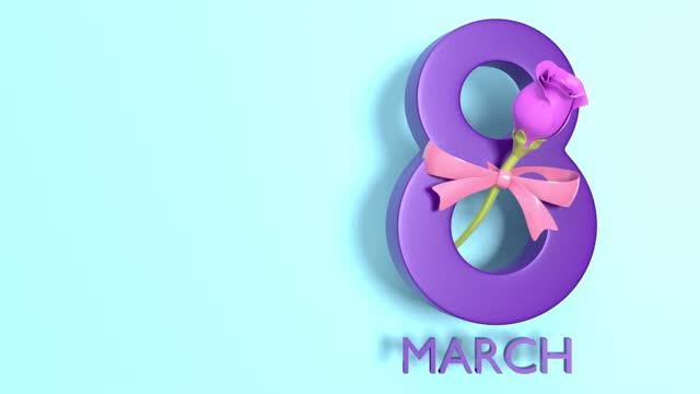 loopable 8 march text and one pink rose to celebrate 8 march international women's day in 4k resolution - number 8 stock videos & royalty-free footage