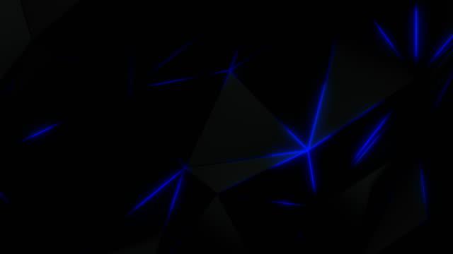 vídeos de stock e filmes b-roll de loopable abstract geometric polygonal background in blue - forma