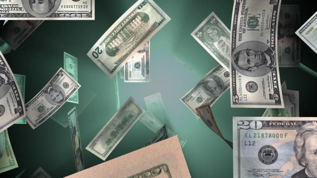 vídeos de stock e filmes b-roll de loopable, american dinheiro cair - nota de cinco dólares dos estados unidos