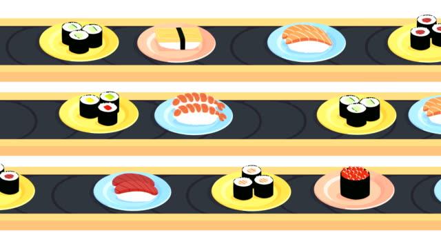 vídeos y material grabado en eventos de stock de animación en bucle de cinturones transportadores de sushi con una variedad de sushi diferente - repetición