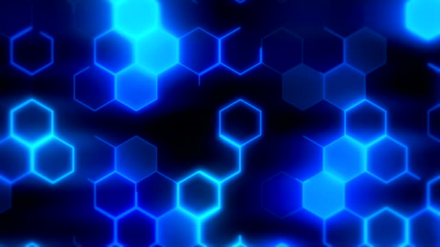loopable blue hexagons background - hexagon stock videos and b-roll footage
