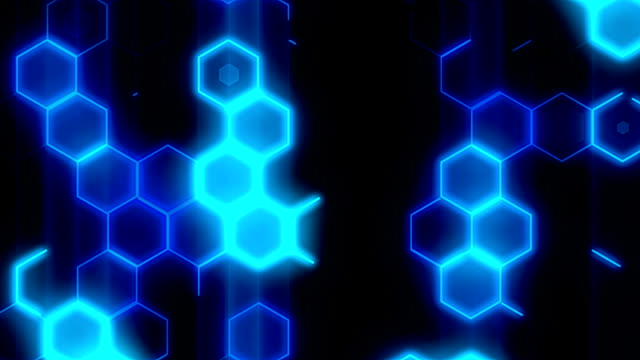 Loopable blue hexagons background