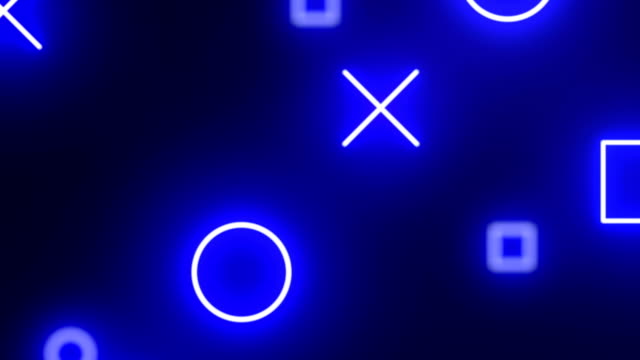 loopable blue neon geometric shapes abstract background animation - a forma di croce video stock e b–roll