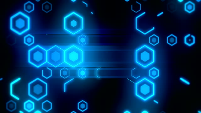 loopable blue technology hexagon background - hexagon stock videos & royalty-free footage