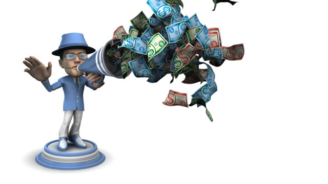 Loopable, BubbleHead Businessman with Bullhorn and Money