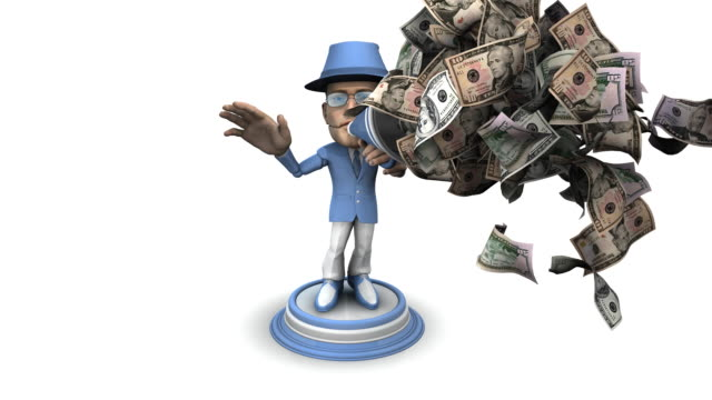 loopable, bubblehead businessman with bullhorn and money - spokesman stock videos & royalty-free footage