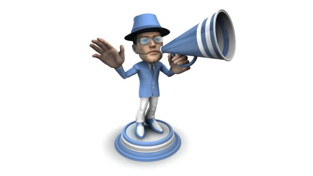 loopable, bubblehead of a businessman with bullhorn - spokesman stock videos & royalty-free footage