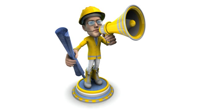 loopable, bubblehead of a construction worker with bullhorn and blueprint - spokesman stock videos & royalty-free footage