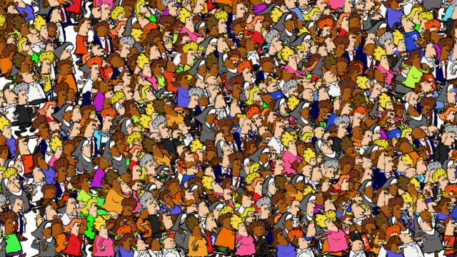 loopable cartoon crowd flood past - cartoon stock videos & royalty-free footage