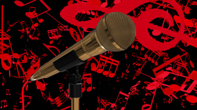 Loopable close up of a gold coloured cardioid dynamic ball head microphone on a red background with musical notes and copy space on the right hand side of the frame save with alpha channel