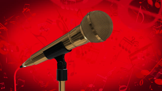 Loopable close up of a rotating gold coloured cardioid dynamic ball head microphone on a red background with musical notes and copy space on the right hand side of the frame.