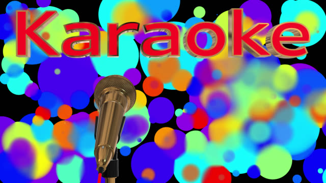 Loopable close up of a rotating gold coloured cardioid dynamic ball head microphone with glowing coloured particles, there is also the word karaoke in 3D gold letters with a red inlay saved with alpha channel