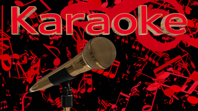 Loopable close up of a rotating gold coloured cardioid dynamic ball head microphone with musical notes and the word karaoke in gold coloured 3D letters with a red inlay saved with alpha channel