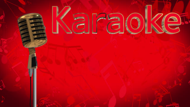 loopable close up of a vintage style gold coloured microphone rotating on a red background with moving musical symbols, there is also the word karaoke in 3d gold letters with a red inlay - light effect stock videos & royalty-free footage