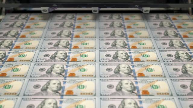 loopable close-up of printing $100 dollar bills, bureau of engraving and printing - abundance stock videos & royalty-free footage