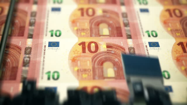 loopable close-up shows printing of €10 euro banknote, european central bank stock video - bank account stock videos & royalty-free footage