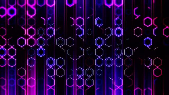 vídeos de stock, filmes e b-roll de fundo colorido loopable dos hexágonos - hexágono
