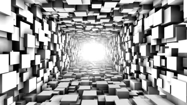 endlos wiederholbar würfel tunnel. abstrakte geometrie. - the end stock-videos und b-roll-filmmaterial