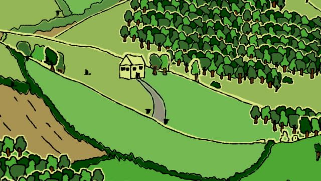 stockvideo's en b-roll-footage met loopable doodled landscape fullscreen with details - tractor