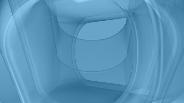 ループダイナミックな幾何学的なブルーの曲線 - 歪曲点の映像素材/bロール