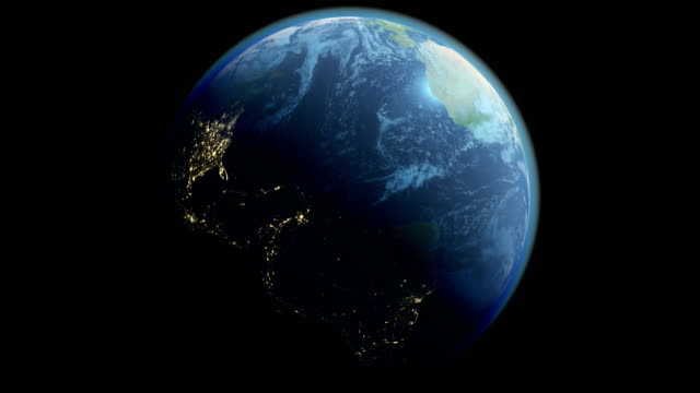 Loopable Earth Globe with Night Lights Isolated on Black Background with Alpha Channel