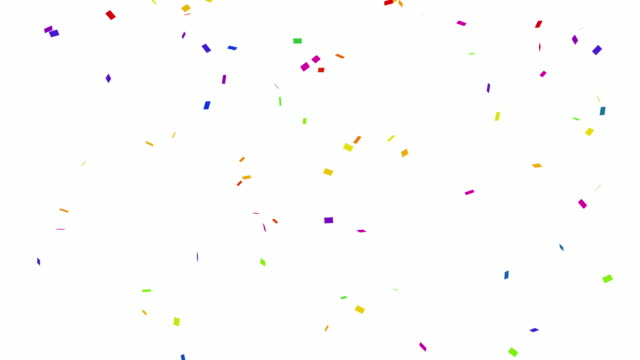 loopable falling colorful confetti on white background 4k - confetti stock videos & royalty-free footage