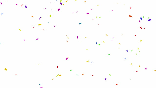 loopable falling colorful confetti with alpha channel 4k - confetti stock videos & royalty-free footage