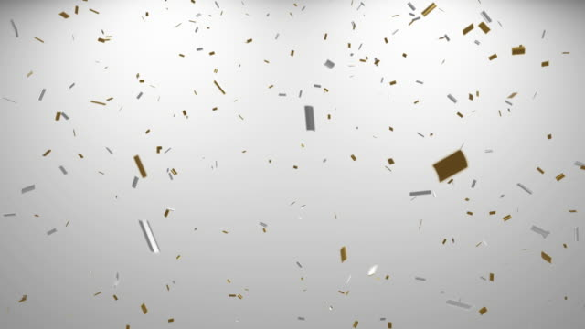 loopable falling gold and silver confetti with alpha channel 4k - gold colored stock videos & royalty-free footage