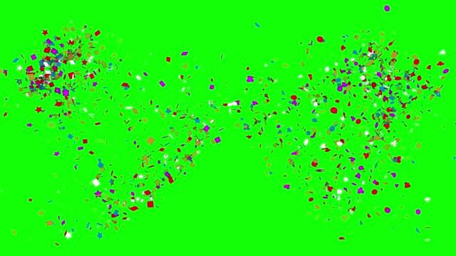 vídeos y material grabado en eventos de stock de confeti de fiesta caída en bucle desde arriba, (serie, ver más abajo para más versiones) - luz brillante
