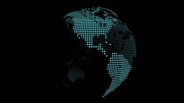 vidéos et rushes de rotation de globe bouclables sur fond noir - pixellisation