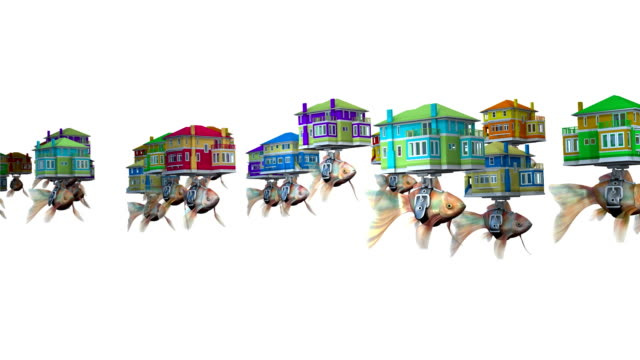 loopable, goldfishes carrying homes. - door to door salesperson stock videos & royalty-free footage